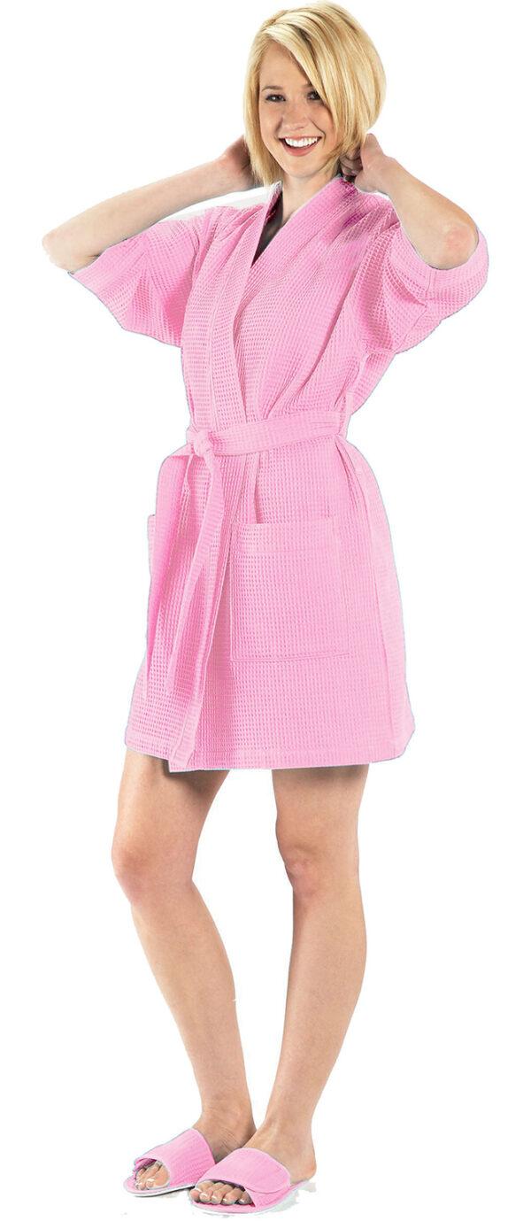 Thigh Length Waffle Weave Kimono Robe - RW1019